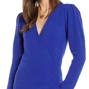 Something Navy faux wrap blue v-neck sweater